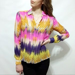 Anthropologie Leifsdottir Neon Silk Button Down